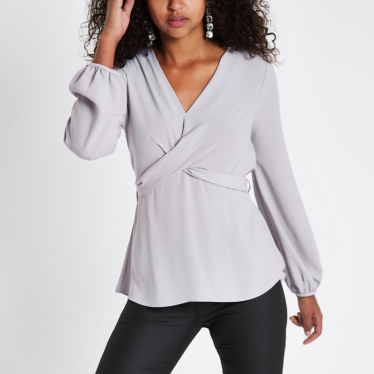 Light grey cross front tie back blouse