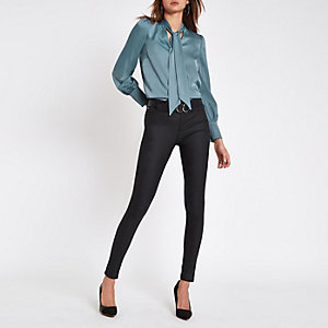 Blue tie neck loose fit blouse
