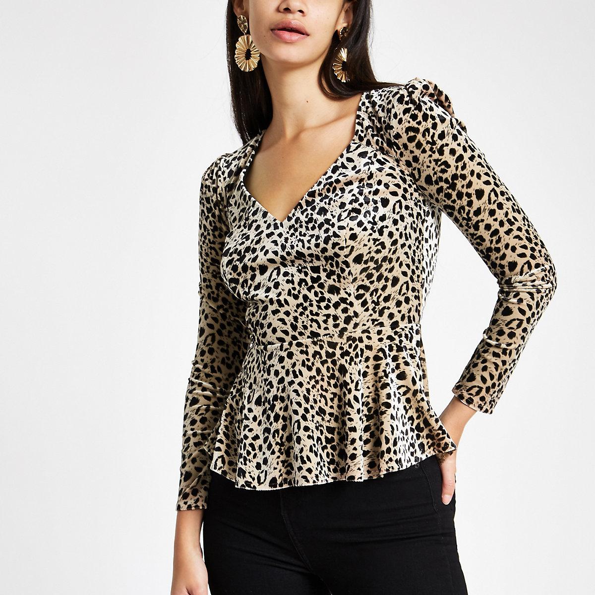 Cream leopard print velvet long sleeve top
