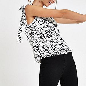 Witte blouse met stippen swingzoom
