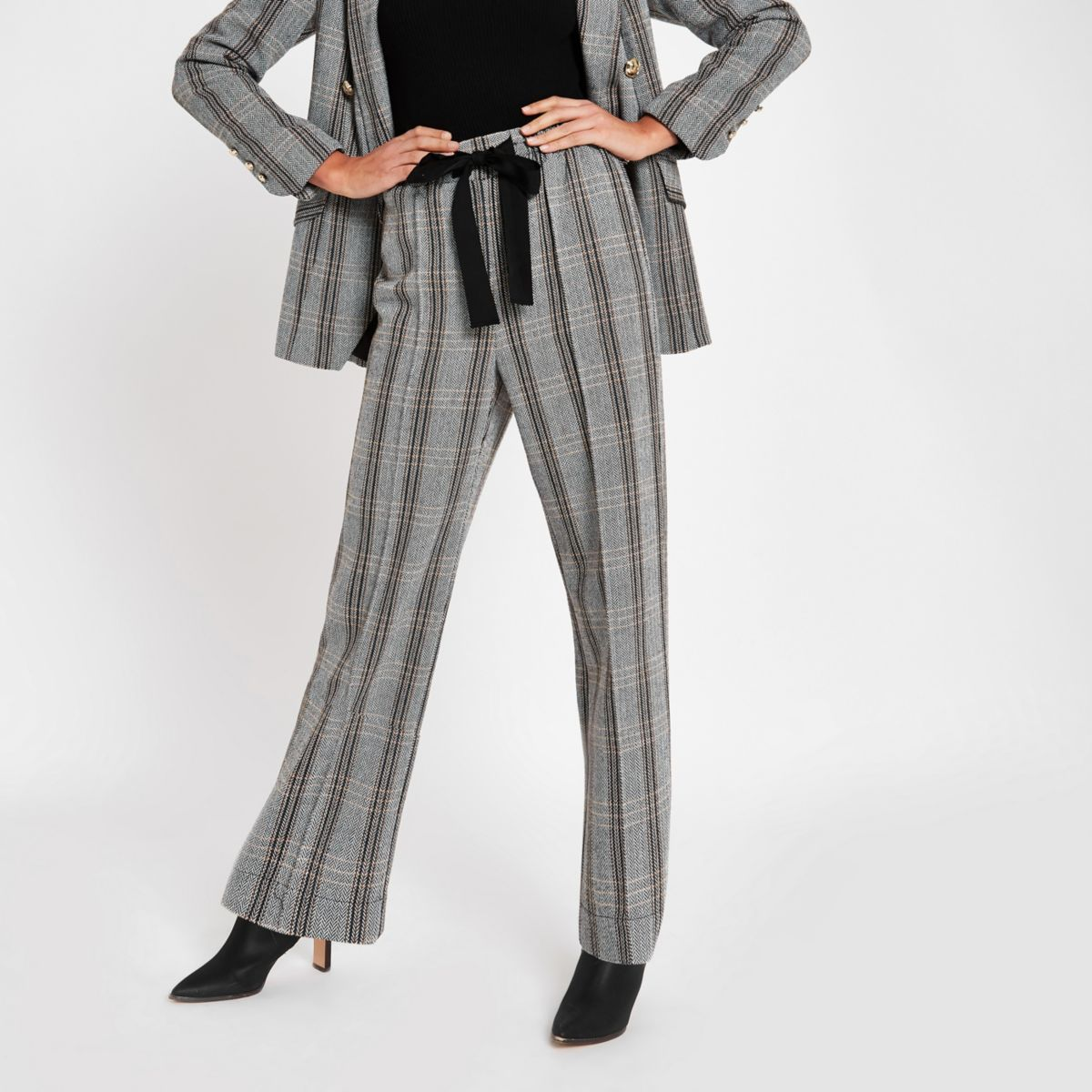 Grey herringbone check wide leg pants
