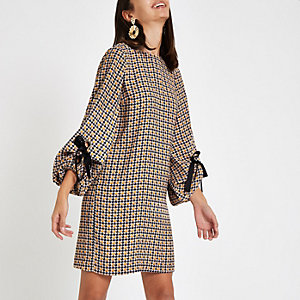 Yellow check long sleeve swing dress