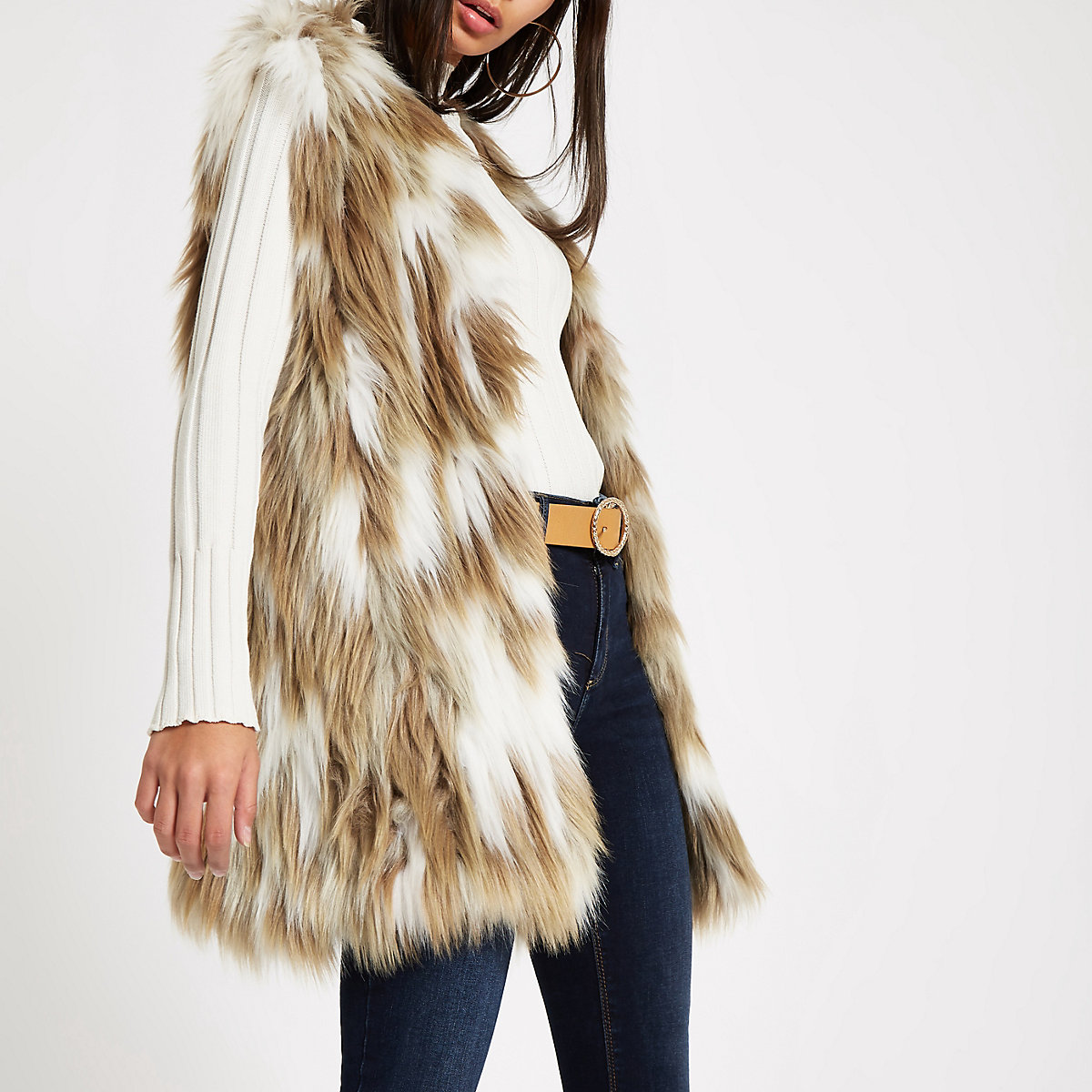 Light brown knitted faux fur vest