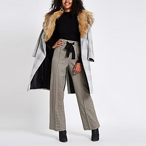 Brown check wide leg trousers