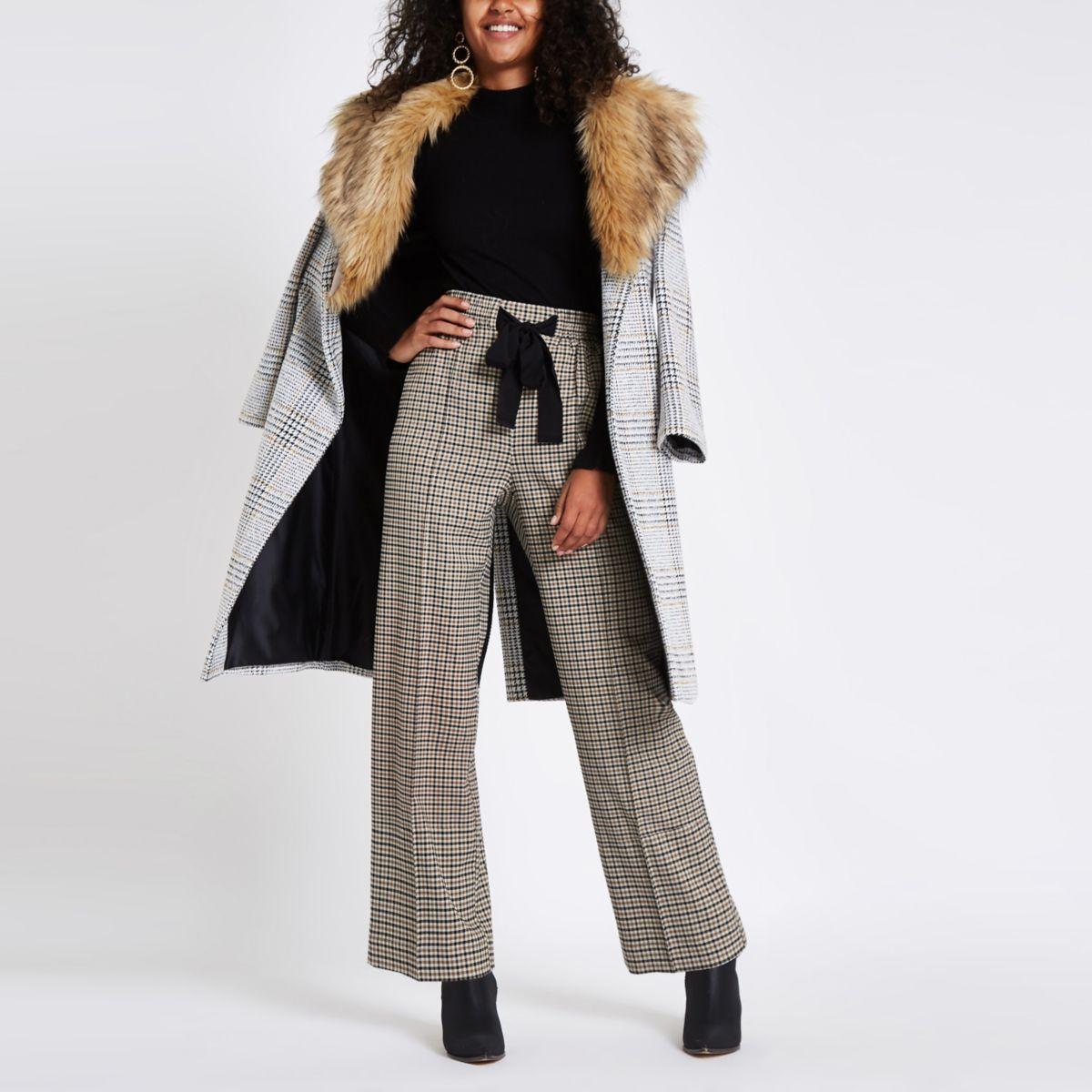 Pantalon large à carreaux marron
