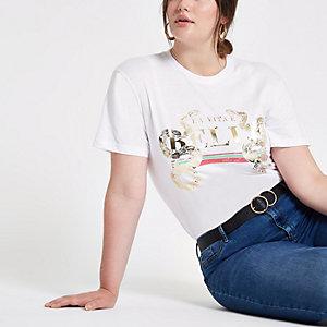 T-shirt Plus blanc à imprimé doré métallisé effet peau de serpent
