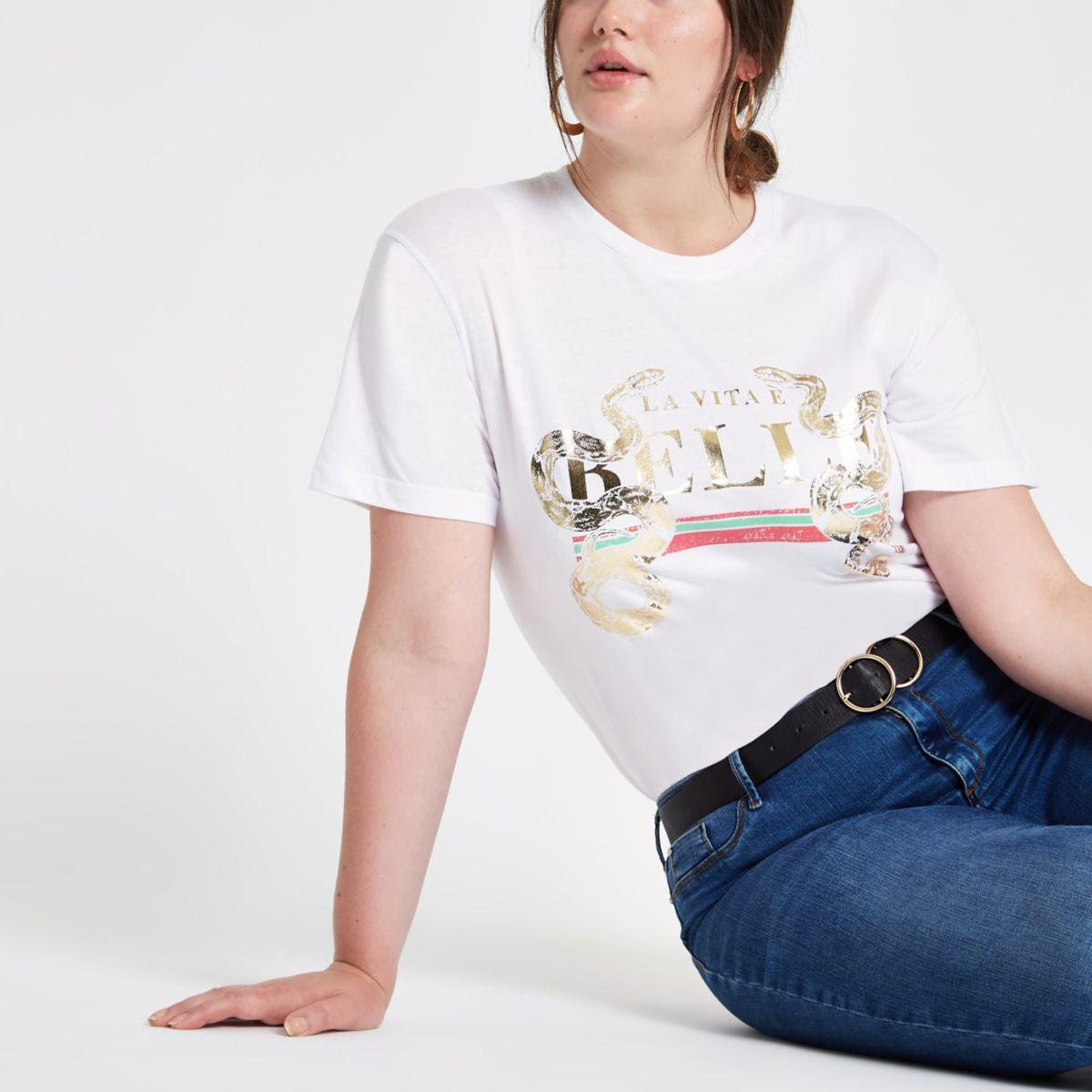 Plus white snake gold foil print T-shirt