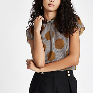 Brown stripe and spot print frill neck top
