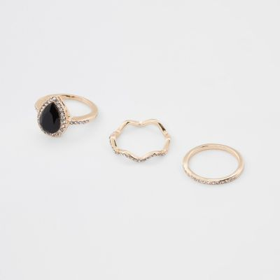 Gold Tone Teardrop Diamante Paved Ring Pack by River Island