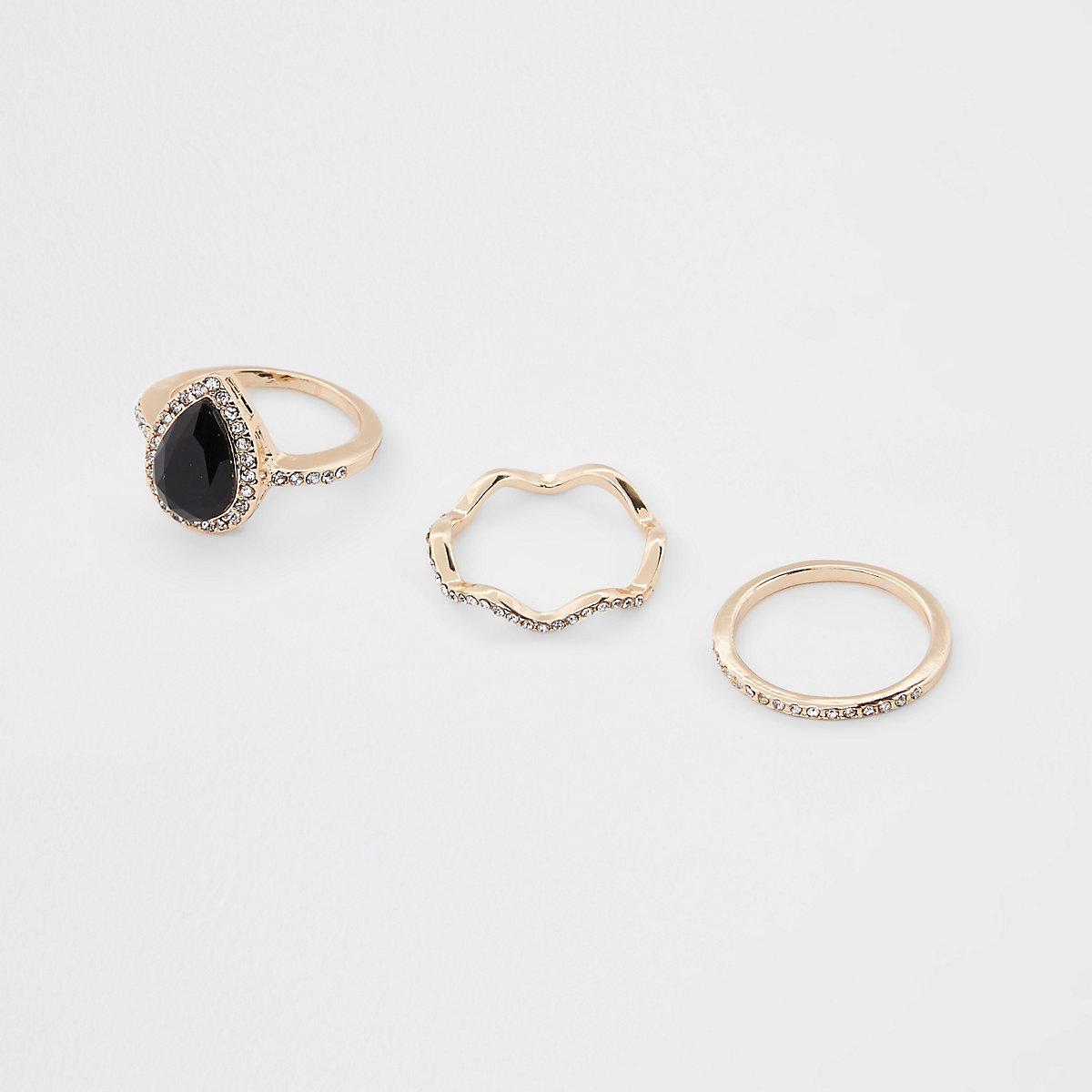 Gold tone teardrop diamante paved ring pack