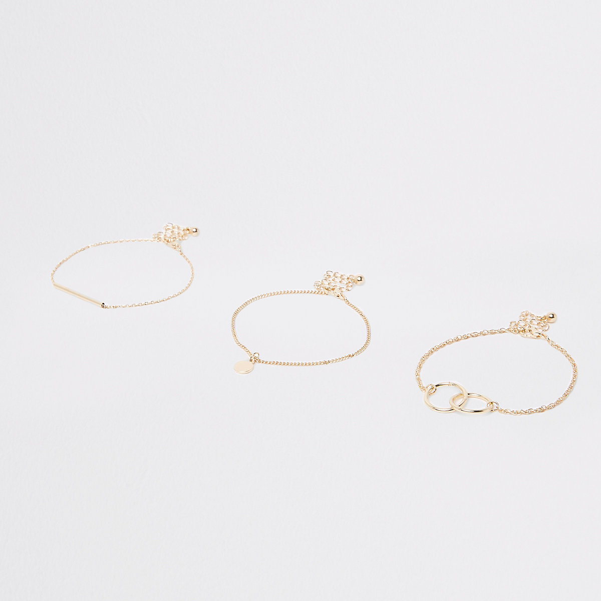 Gold tone interlinked bracelet multipack