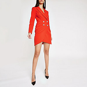 Red rhinestone embellished bodycon tux dress