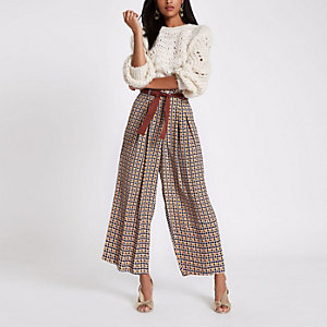 Brown print wide leg belted pants