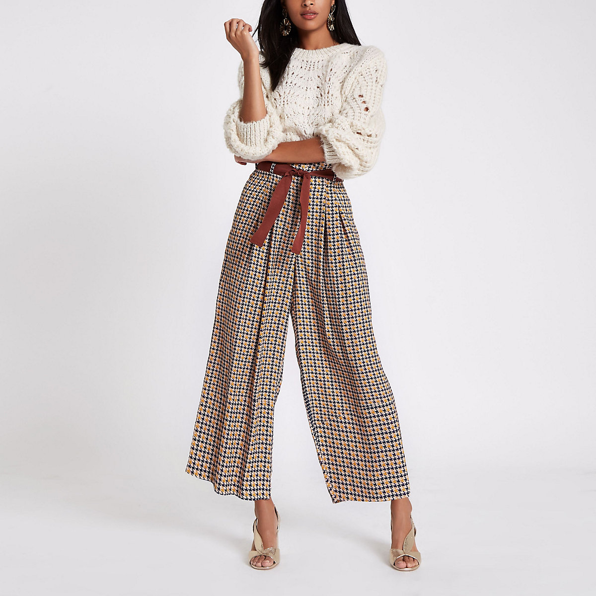 Brown print wide leg cropped belted pants