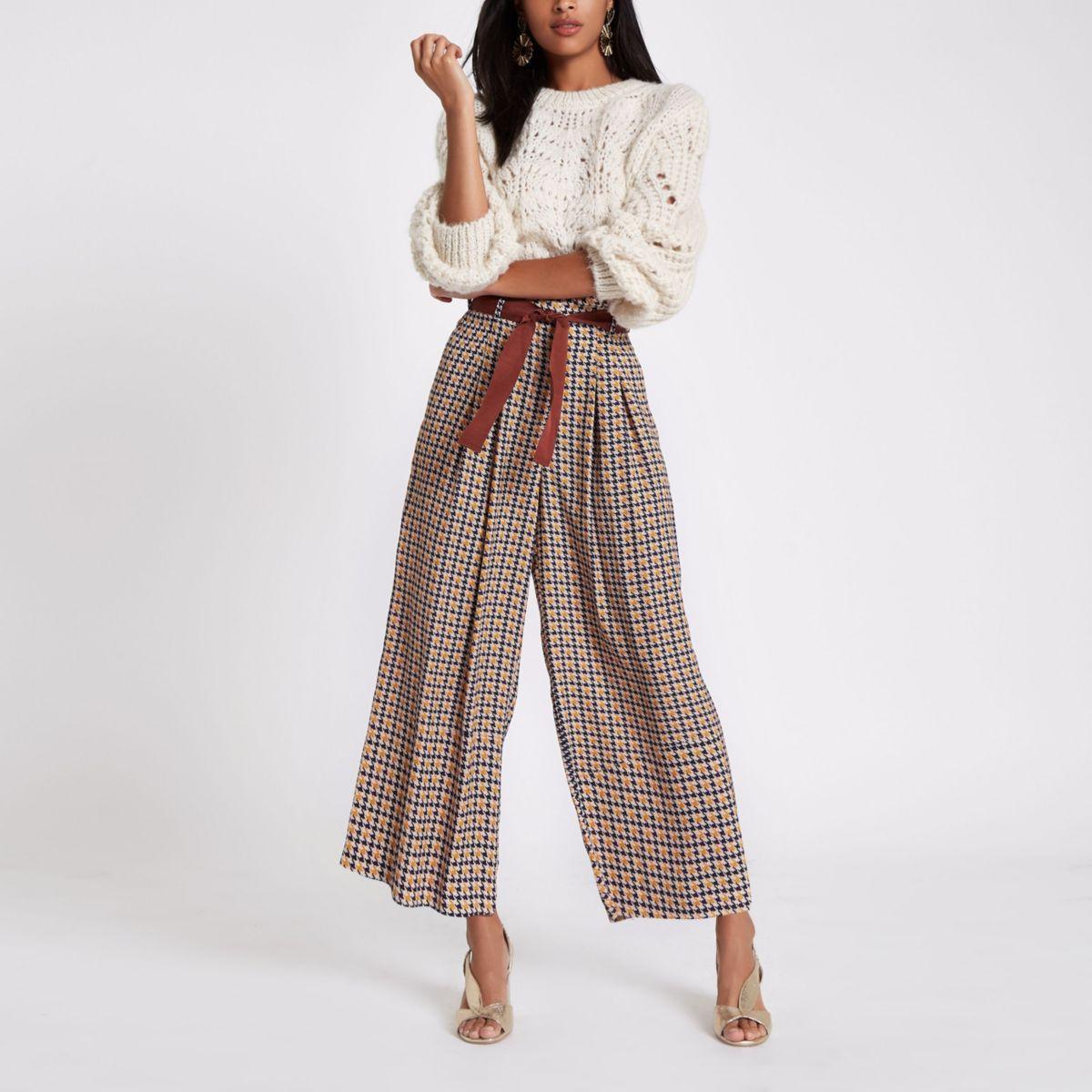Brown print wide leg belted pants