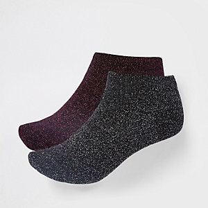 Black metallic stitch trainer socks 2 pack