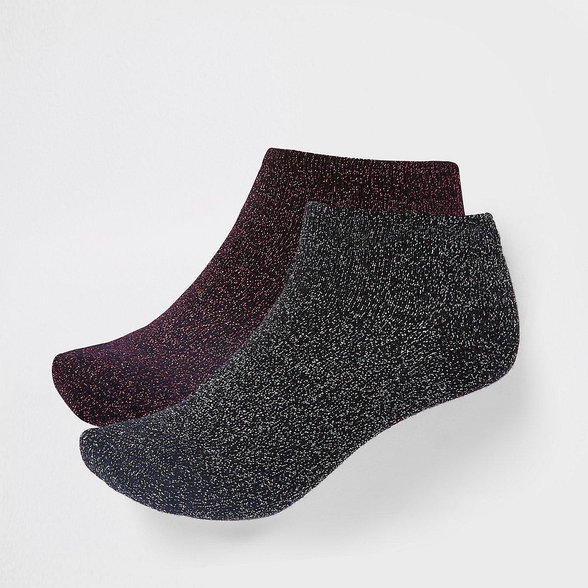 Black metallic stitch sneaker socks multipack