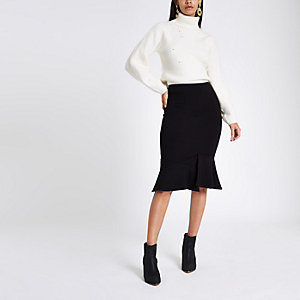 Black ponte peplum hem pencil skirt
