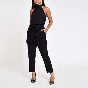 Pantalon Petite noir fuselé avec lien à la taille
