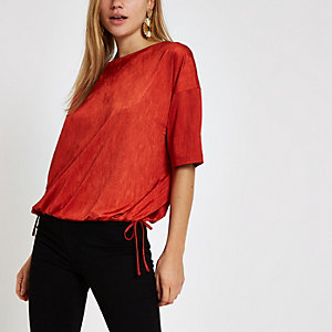 Red elastic hem short sleeve T-shirt