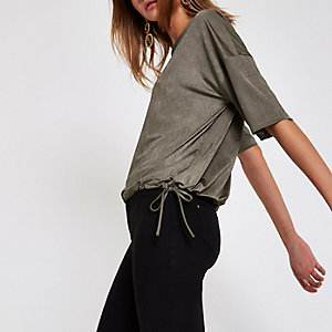 Khaki short sleeve elastic top