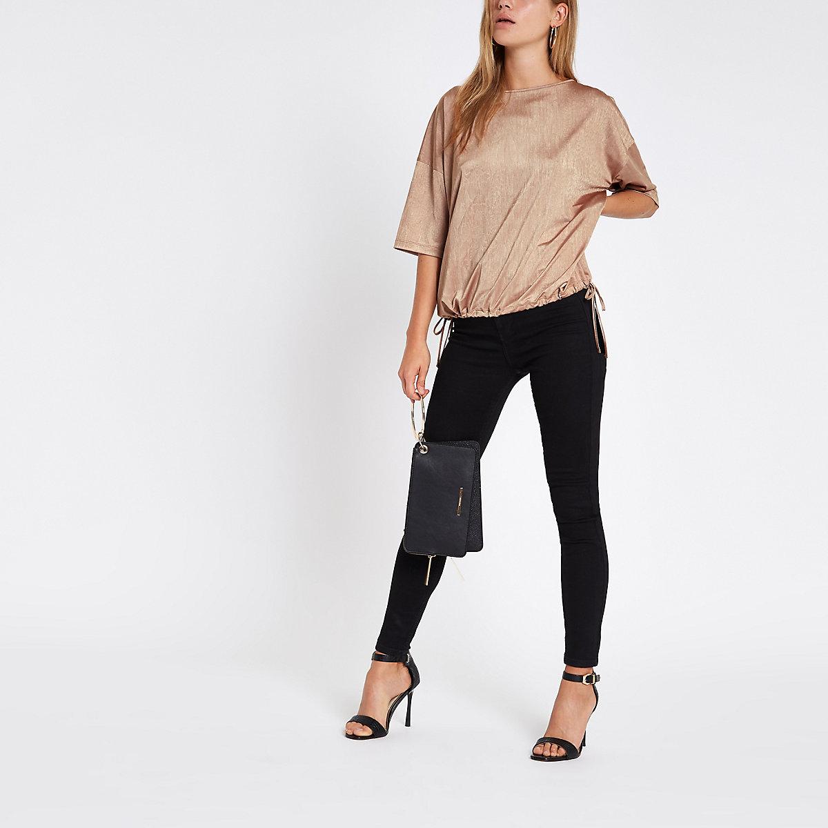 Beige short sleeve elasticated hem top