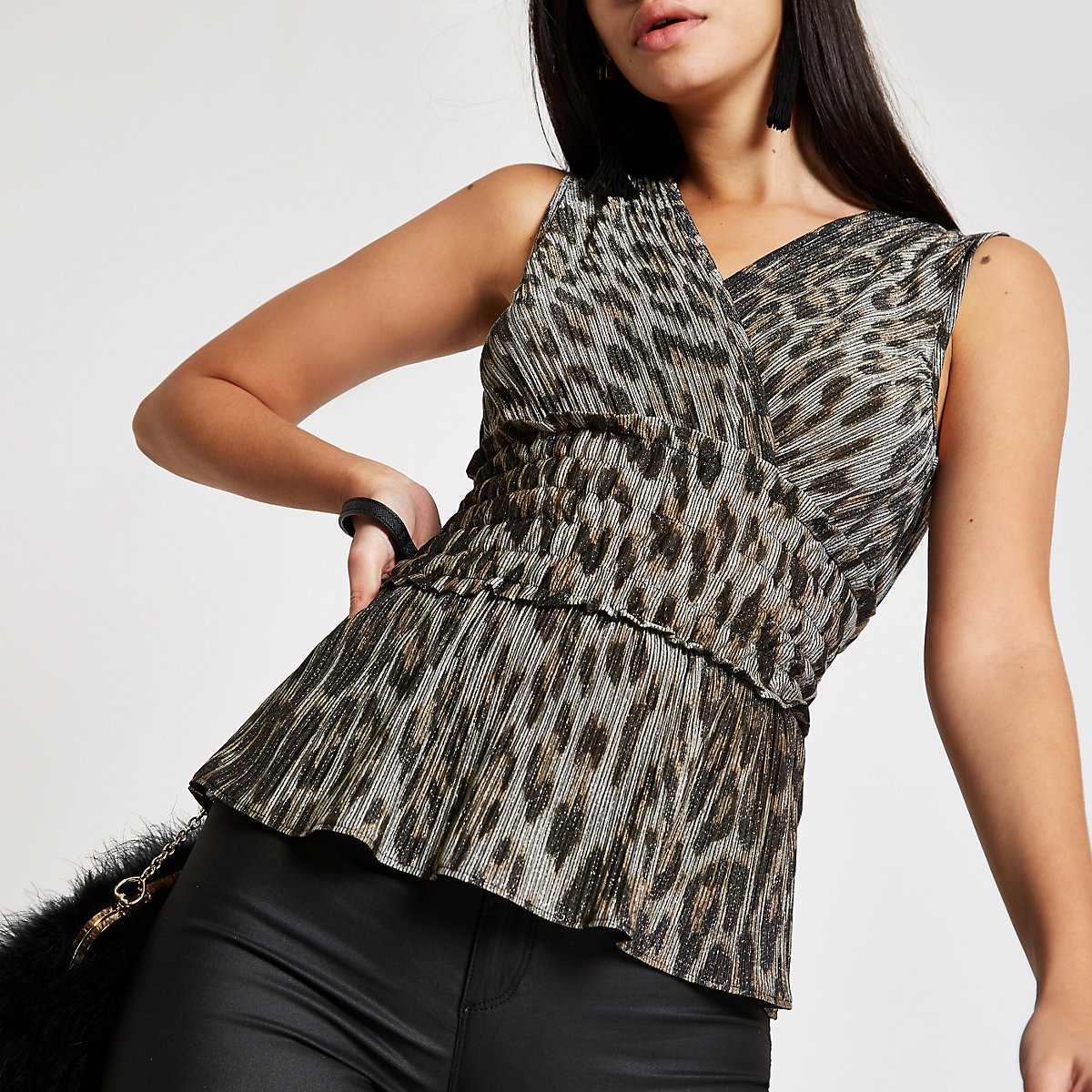 Brown leopard print shirred waist top