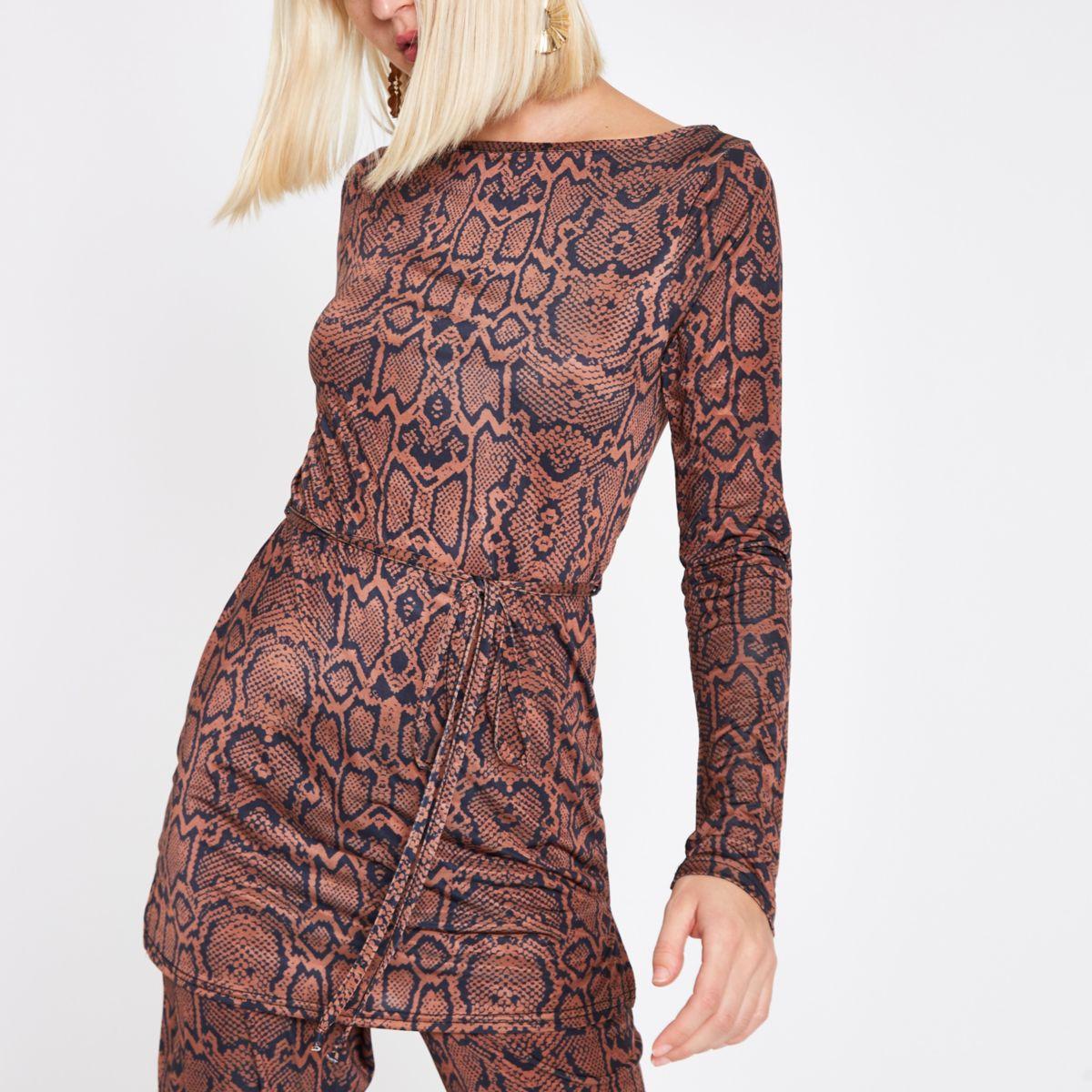 Brown snake print belted long sleeve top
