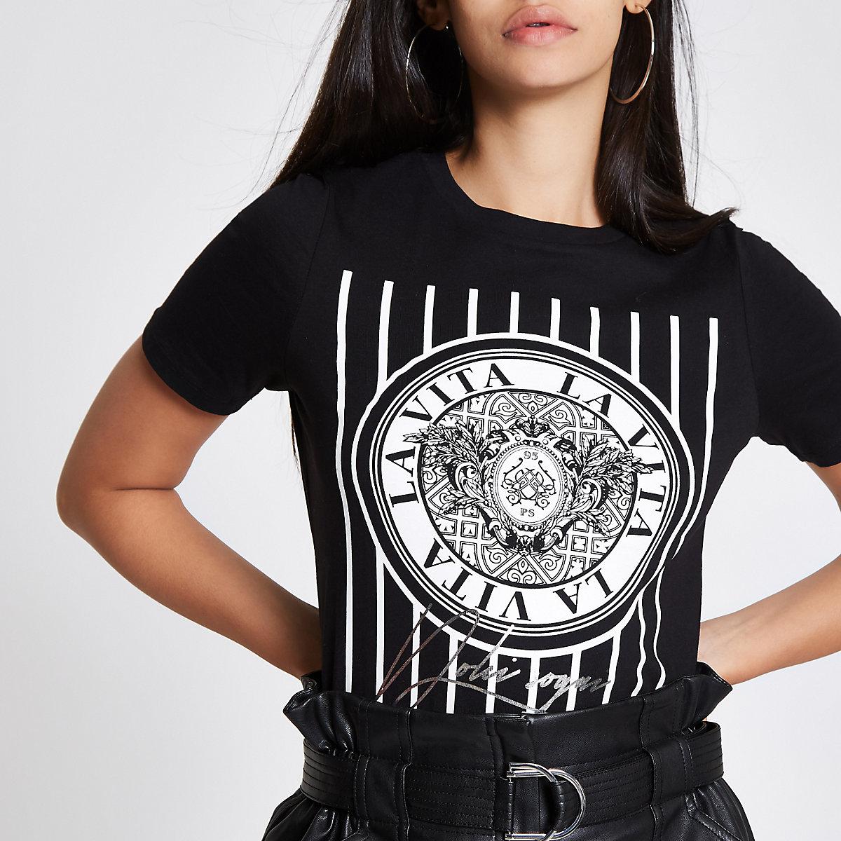 Black 'La Vita' print T-shirt