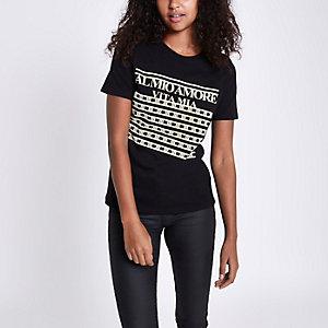 T-shirt à inscription « Al Mio Amore » noir