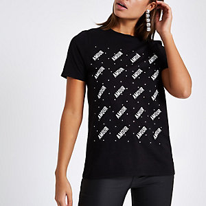 T-shirt imprimé «Amour» noir à strass