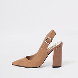 Dark brown block heel sling back pumps