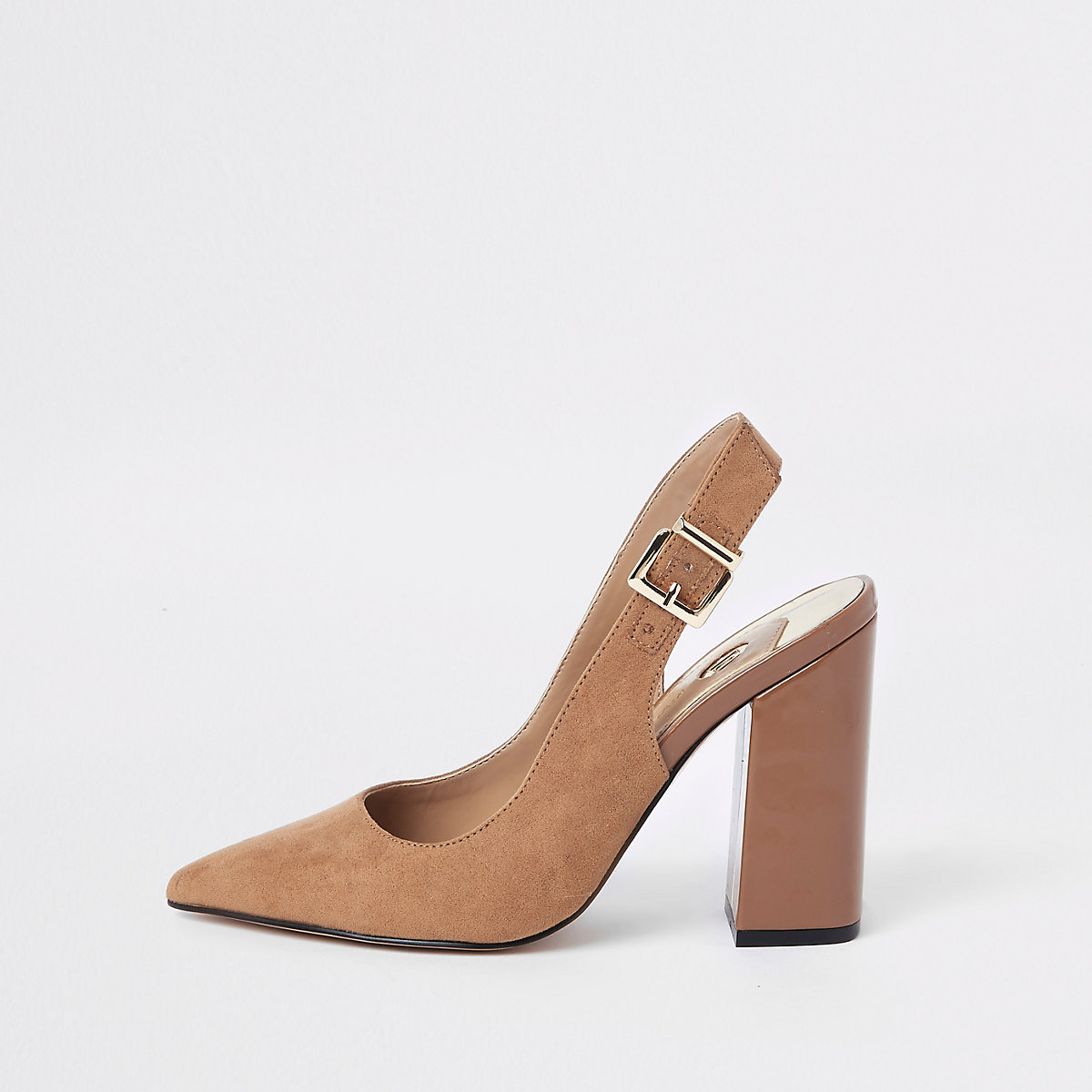 Dark brown block heel slingback pumps
