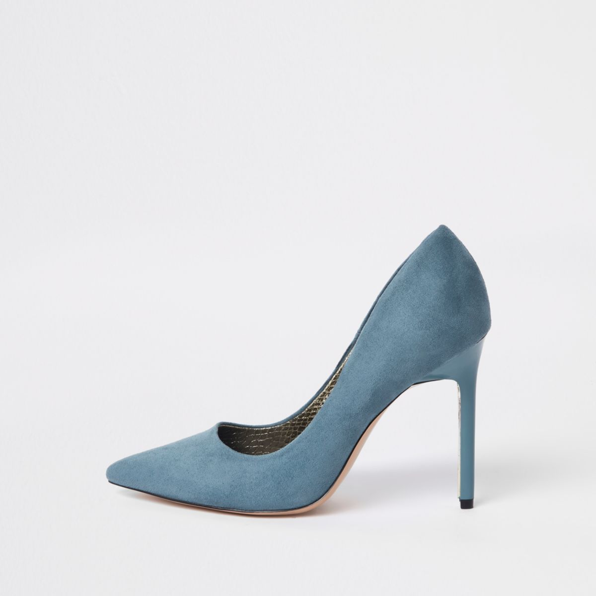 Blue faux suede court shoes