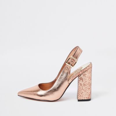 Bright Gold Block Heel Sling Back Court Shoes by River Island