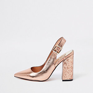 Bright gold block heel sling back court shoes