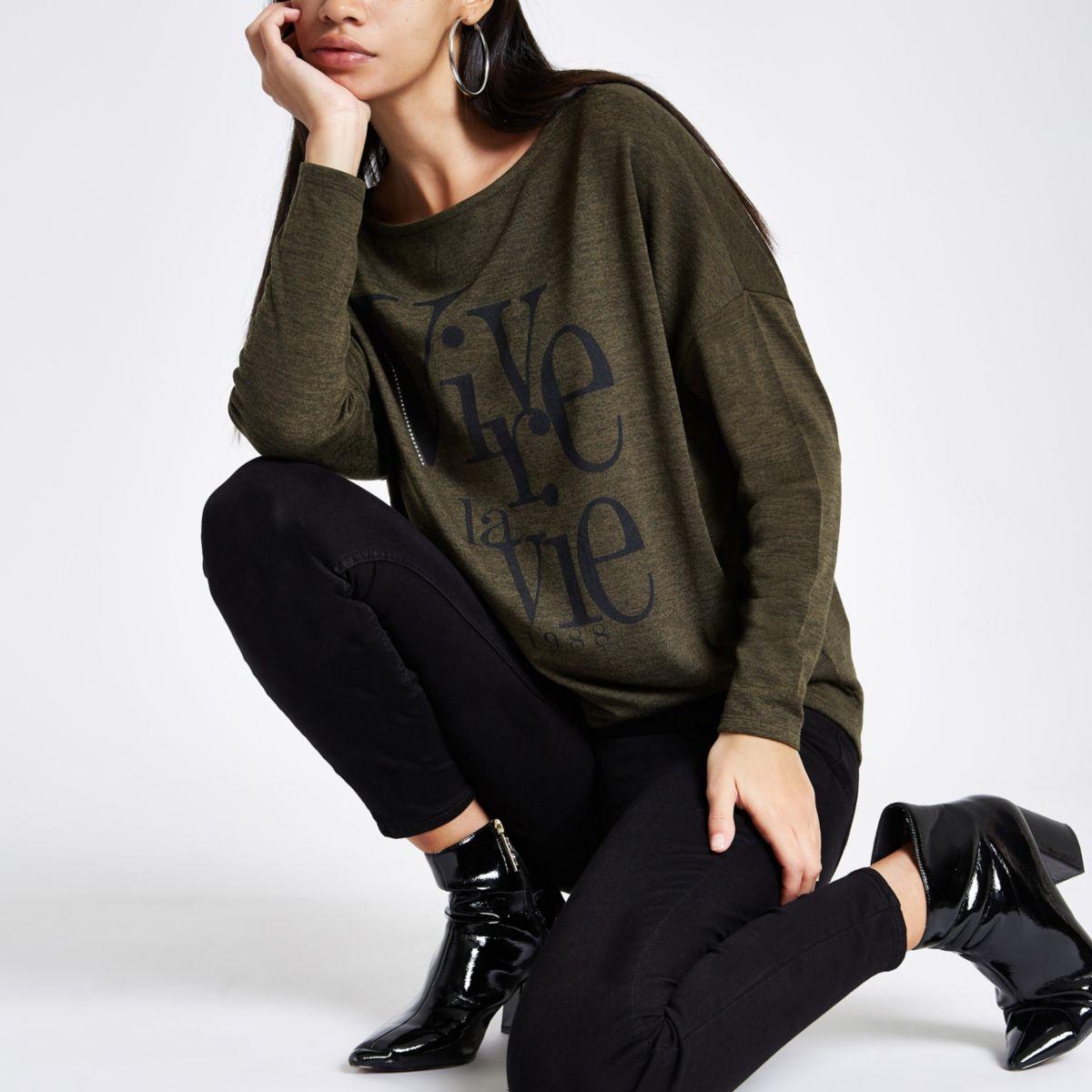 Khaki green hacci 'Vivre La Vie' batwing top
