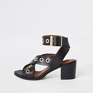 Black leather eyelet block heel sandals