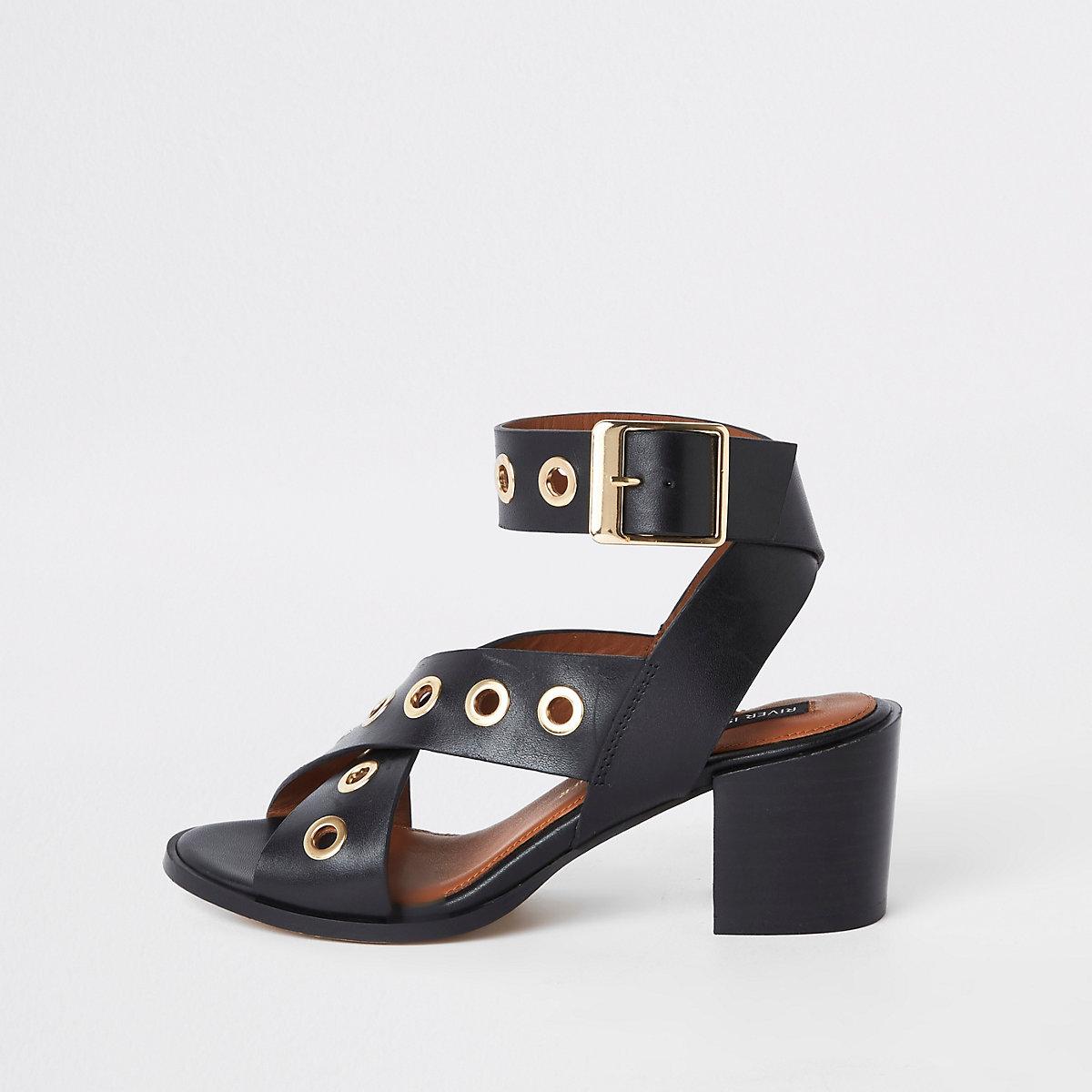 Black leather eyelet block heel sandals