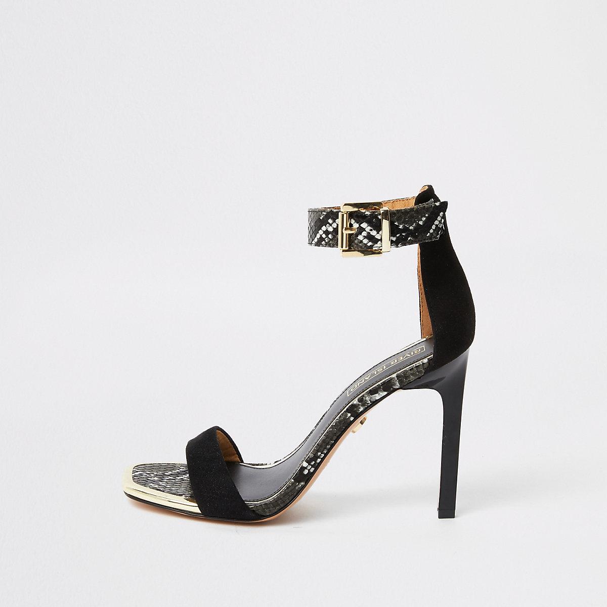 Sandales minimalistes en suédine noires