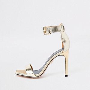 Goudkleurige minimalistische sandalen met rechte neus