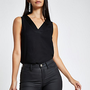 Black V neck sleeveless bar back top