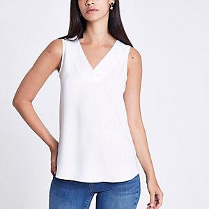 White V neck sleeveless bar back top
