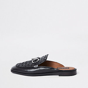Black woven leather backless loafers