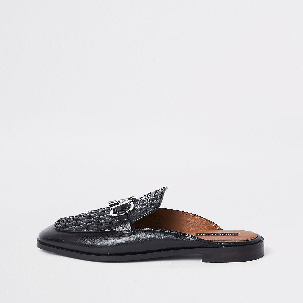 Geweven Leren Loafers Achterkant Zonder Zwarte Schoenen BSYnqxSw