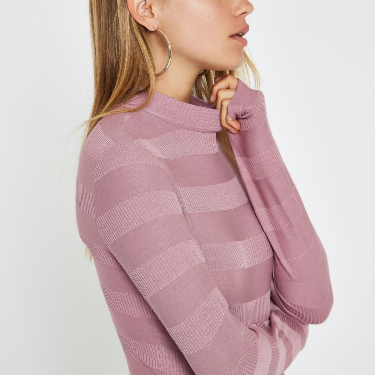 Pink high neck ribbed crop sweater