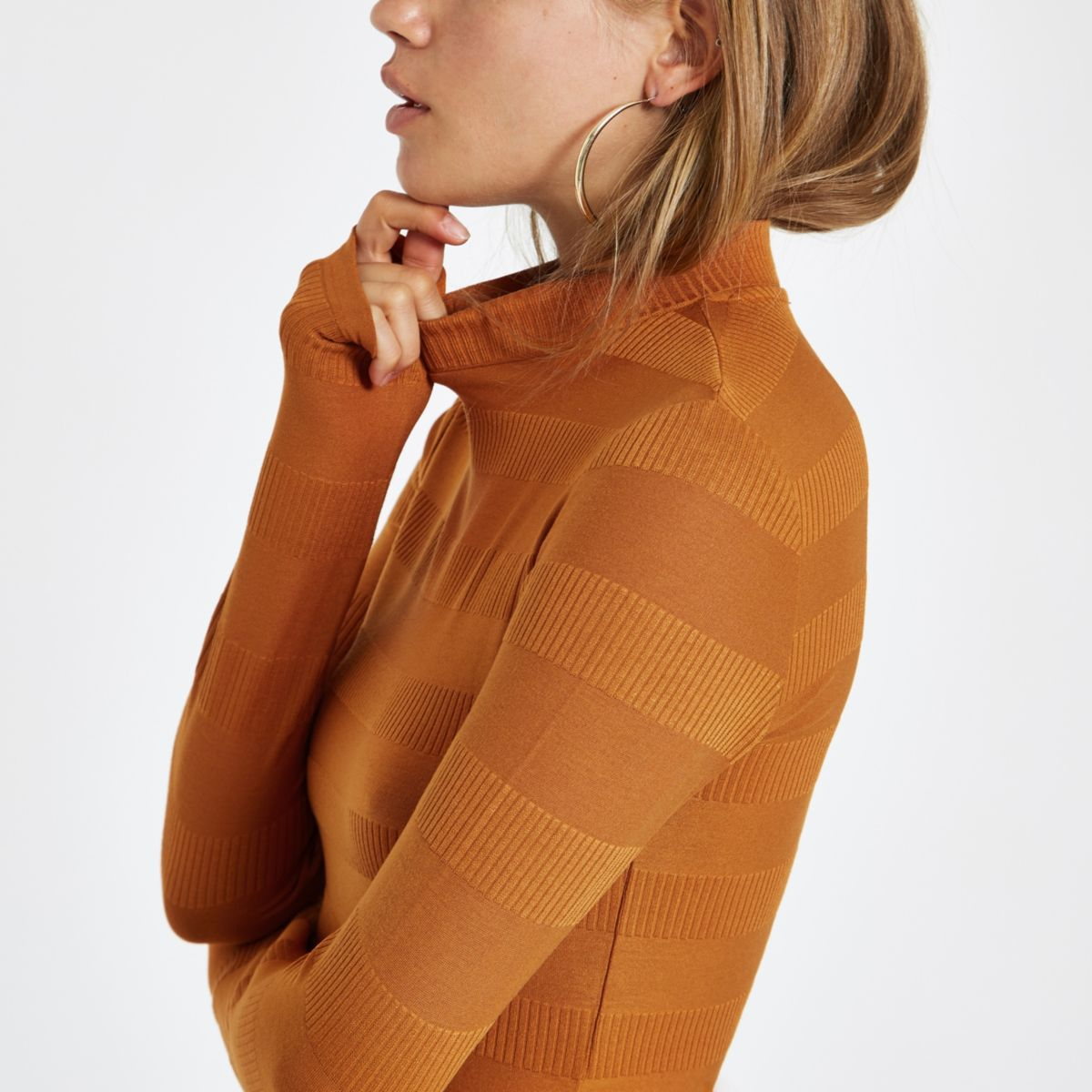 Rust high neck ribbed crop sweater