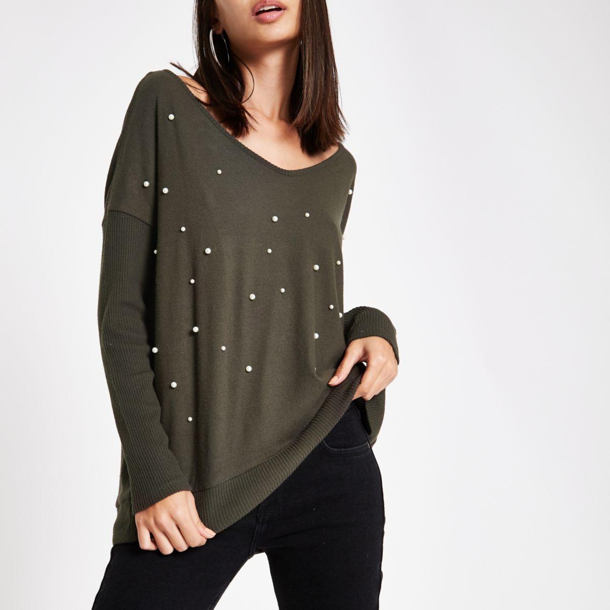 Khaki hacci pearl embellished V neck sweater