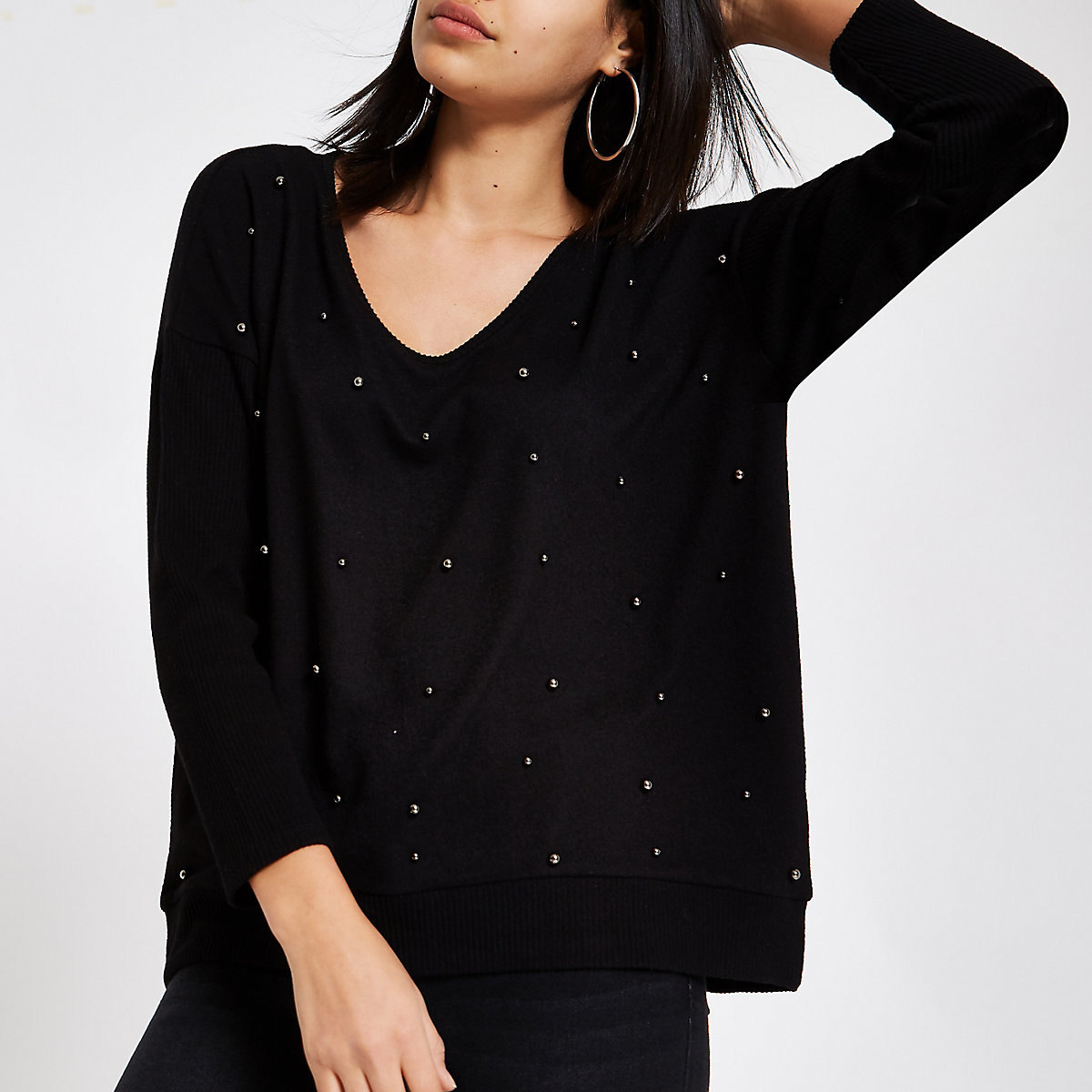 Black pearl embellished sweater