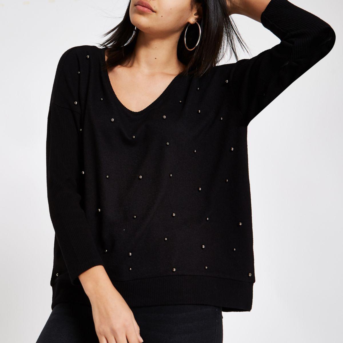 Black hacci pearl embellished sweater